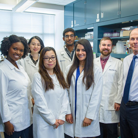 """UK Superfund Research Center director Bernhard Hennig (right) with doctoral students who are part of the center's """"Project #1,"""" which examines how nutrients affect toxicity caused by PCBs in vascular tissues."""