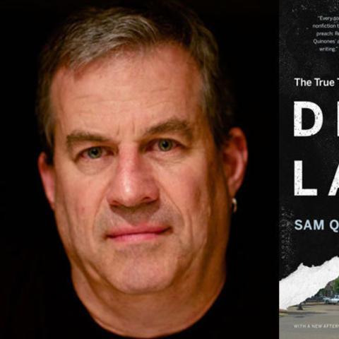 "photo of Sam Quinones and ""Dreamland"" book cover"