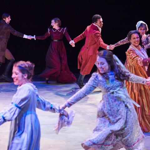 "photo of cast of ""Sense and Sensibility"" dancing - UK Theatre"