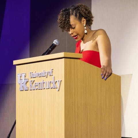Kennedy Guess welcomes guests to the inaugural Still We Rise Banquet.