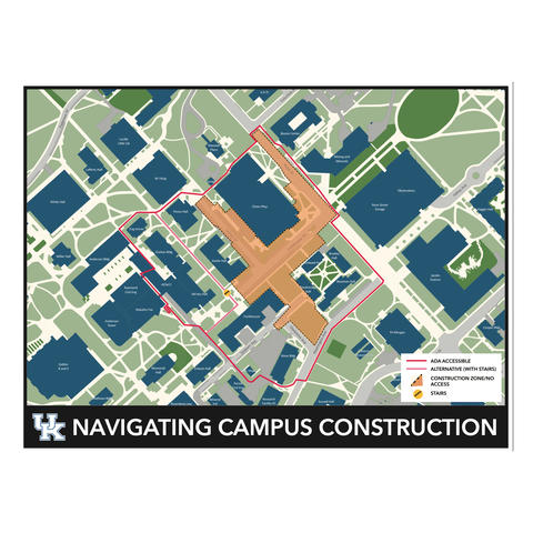 The navigating campus construction map, showing an accessible route around the site.