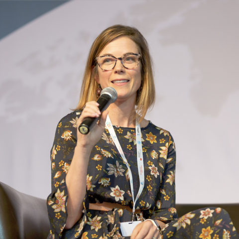 Zimmerman speaking on gender-inclusive payment systems at the Financial Inclusion Global Initiative summit in Cairo, Egypt.