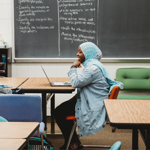 Aisha Ndayishimiye, a Fayette County STEAM Academy senior and UK Next Generation Scholar, interacted on Zoom with Sy Bridenbaugh, a UK College of Education instructor teaching a college preparedness course in UK's dual credit program (pre Covid-19)