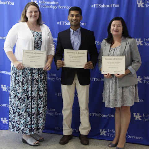 ITS Customer Excellence Award winners are from left, Holly Hapke, Bharath Chithrala, and Michelle Garth. Photo courtesy of Rebecca Clements, Information Technology Services (ITS).