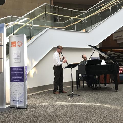 Scott Wright, professor of clarinet, and Jacob Coleman, assistant professor of piano and collaborative piano, performed in the Pavilion A atrium last fall