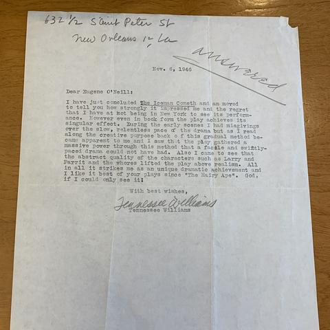 photo of letter from Tennessee Williams to Eugene O'Neill