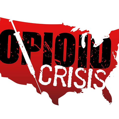 "graphic of US map with ""Opioid Crisis"" written on it"