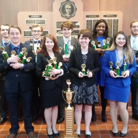 Photo of UK Forensics Team at the Marshall University Chief Justice Invitational speech and debate tournament