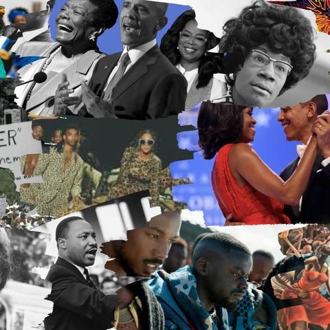 Black History Month collage designed by UK senior and MLK graphic design intern Cymone Webb.