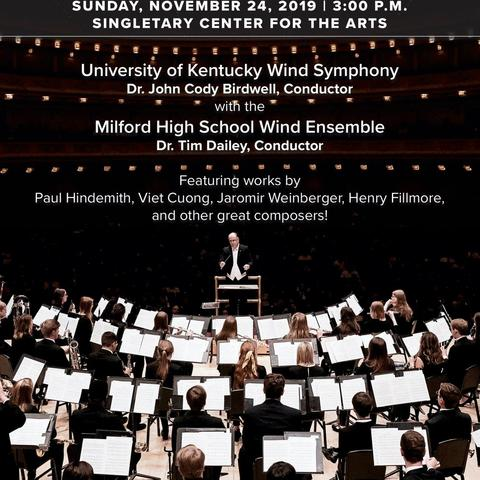 photo of poster for UK Wind Symphony with Milford High School Wind Ensemble