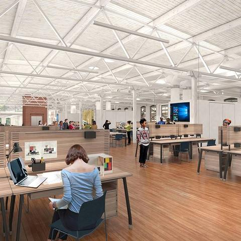 rendering of College of Design space after major renovation of the Reynolds Building -- showing tables and workspaces in large open area.