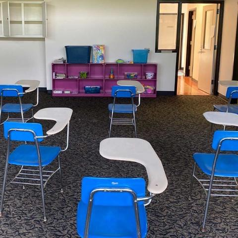 Photo of desks physically distanced in the Y Academy at UK