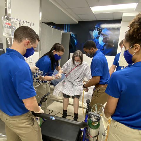 physical therapy students in ICU simulation