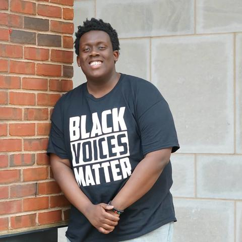 photo of Aaron Porter in Black Voices Matter T-shirt