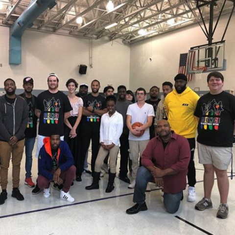 """photo of """"Bounce"""" cast and crew at local school"""