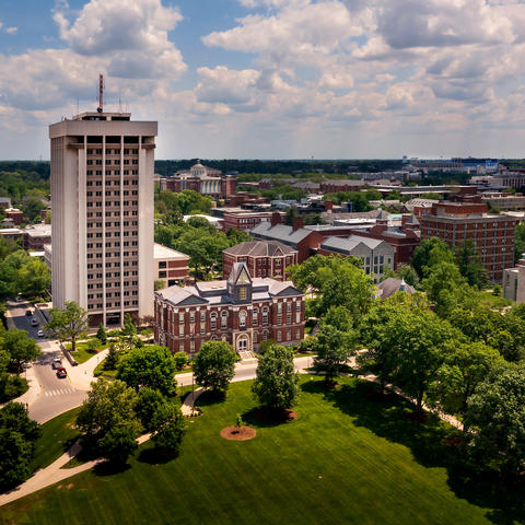 aerial photo of campus with the Main Building and Patterson Office Tower in center