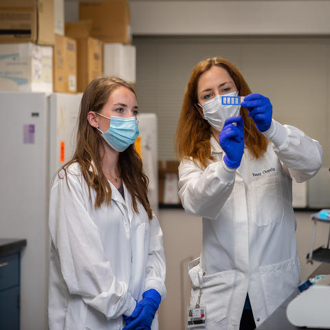 UK researcher Fanny Chapelin (right) has been named a 2021 Scialog: Advancing Bioimaging Fellow. Photo by UK College of Engineering.