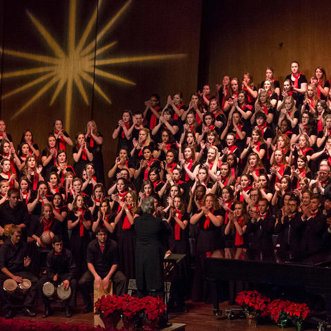 "photo of combined choirs at ""Collage"""