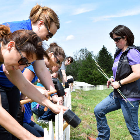 UK advisors prepare fencing for the High Hope Steeplechase at the Kentucky Horse Park.