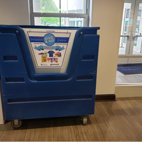 Give and Go Donation Stations were placed in the lobbies of residence halls during Spring Move-out.
