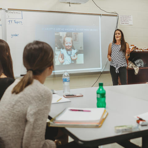 Laura Yost, a former UK cheerleader and UK College of Education alumna, is using her life experiences to help future teachers offer students a welcoming, equitable learning environment.