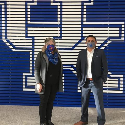 Karen Slaymaker (left) and GradCATS student Luis Velasquez (right)