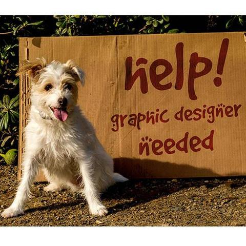 Design Competition graphic featuring dog and help wanted sign