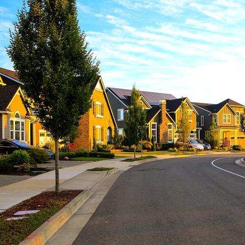 Detail of houses in neighborhood