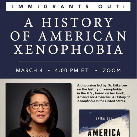 "photo of ""Immigrants Out"" poster for Erika Lee lecture"