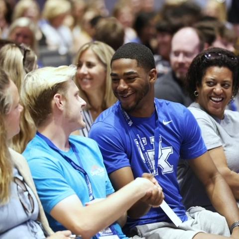 Students at orientation.