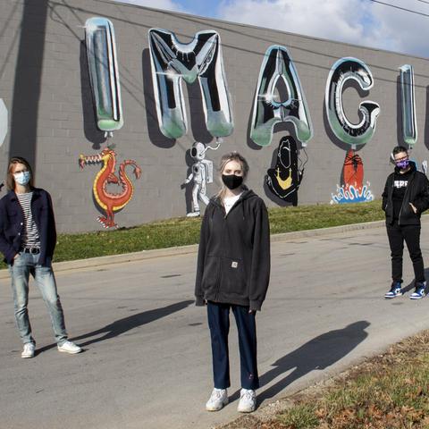 IMAGINE NATION mural by UK Guerilla Arts class