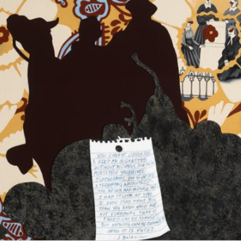 Artwork depicting a silhouette of statue featuring a man on horseback, floral accents in orange, blue and red, as well as a letter written on white paper