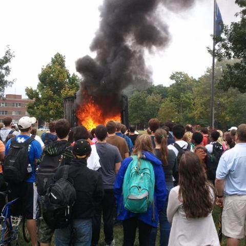 photo of simulated residence hall room fire