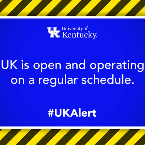 graphic saying UK is open and operating on regular schedule