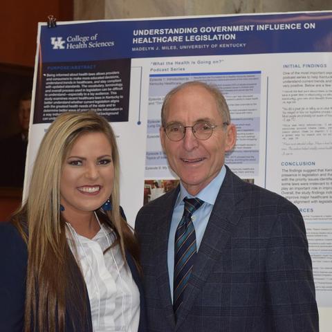 UK President Eli Capilouto congratulates Madelyn Miles