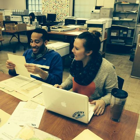 photo of interns working in Special Collections Learning Lab