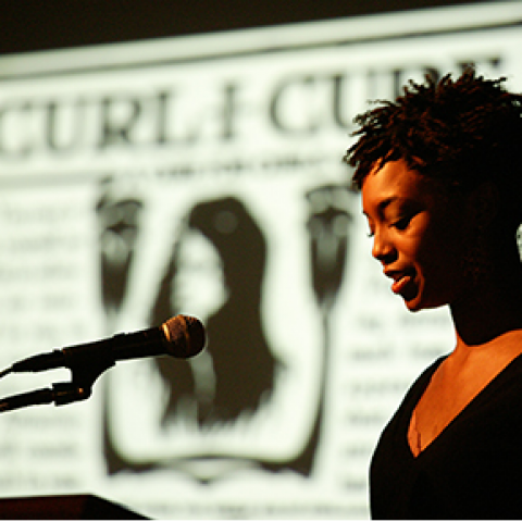 photo of Shayla Lawson delivering her Breathitt Lecture