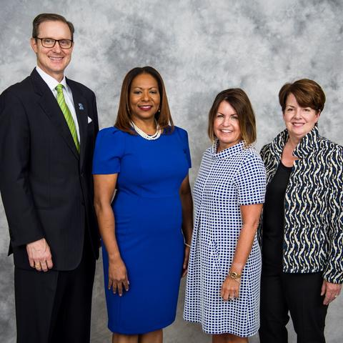 photo of UK Alumni Association officers Tim Walsh, Taunya A Phillips, Hannah Miner Myers and Mary Shelman