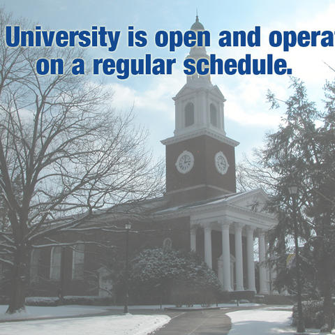Photo of Memorial Hall in snow - UK open today message