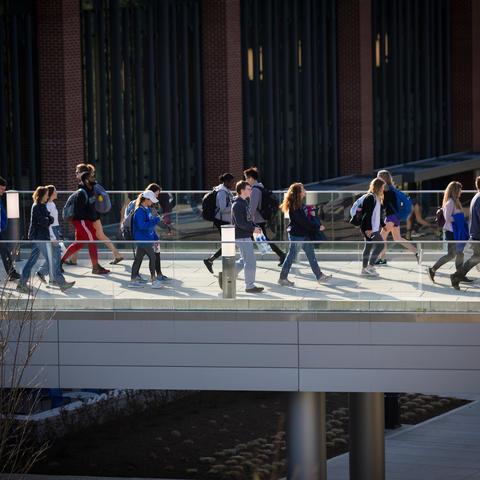 photo of students walking across Gatton Student Center pedway