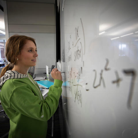 photo of person at a white board