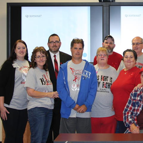The Hazard and Surrounding Area Stroke Survivor and Caregiver Support Group, along with one of the group's founding members, Mark Kincaid, a stroke survivor from Letcher County   Photo Provided