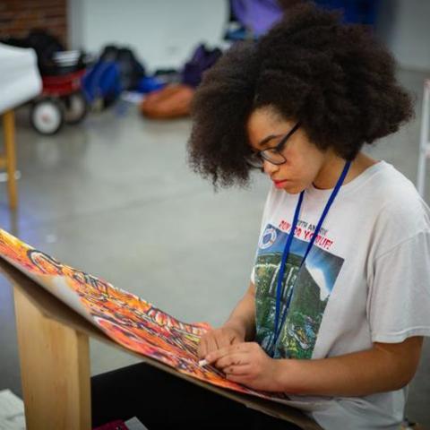 photo of visual art student in GSA at UK