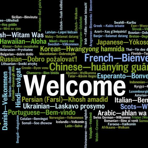 photo of welcome graphic in several languages