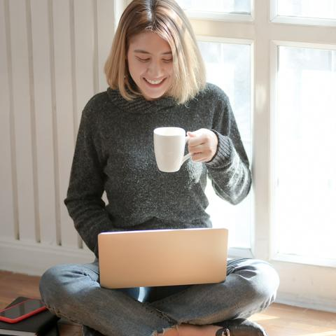 Woman using the computer.