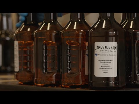 Thumbnail of video for UK's James B. Beam Institute Providing Sanitizer to Health Care Workers, Manufacturing Instructions to Spirits Industry